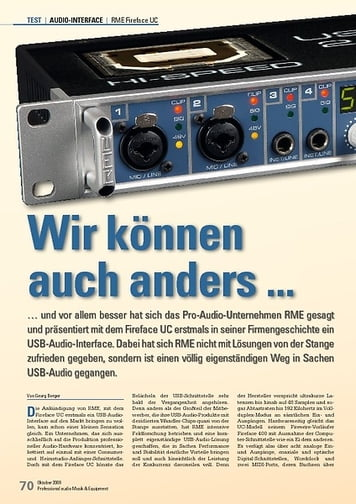 Professional Audio RME Fireface UC: Wir können auch anders ...