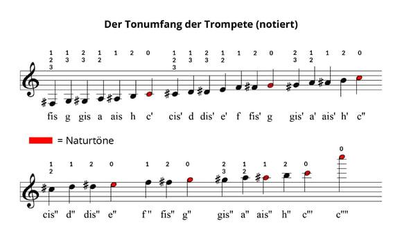 Der Tonumfang der Trompete