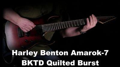 Harley Benton Amarok-7 Black Red Quilted Burst